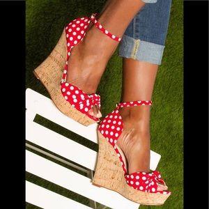MICHAEL KORS MK Cabana Wedge Sandal Red Polka Dot
